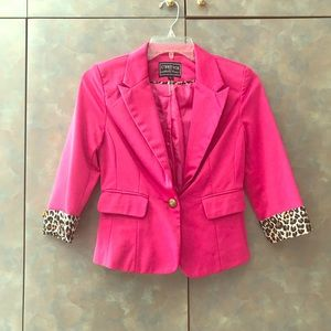 Jackets & Blazers - Bright Pink Blazer (Leopard Detail)